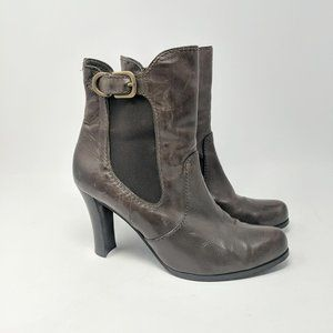 Davos Gomma Brown Leather Heeled Ankle Boots